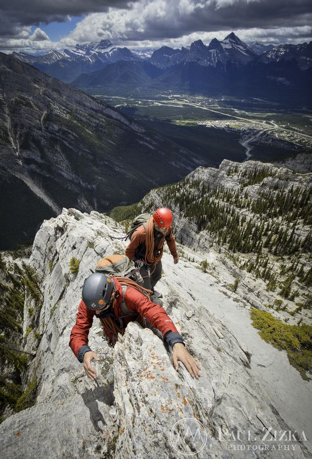 Climbers on ESE Ridge of Mount Lady MacDonald above the town of Canmore and the Bow Valley -  Banff National Park, Alberta, Canada