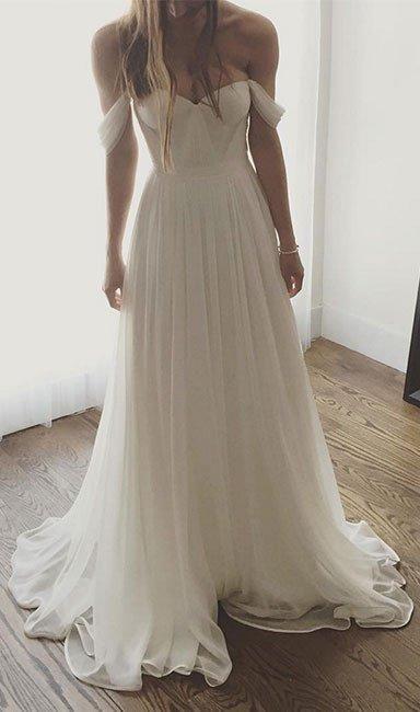 Ivory Wedding Dresses, Chiffon Wedding Dress, Long Prom Dress, Off The Shoulder Wedding Gown, Simple Wedding Dresses,Long Formal Gown,Wedding Dress