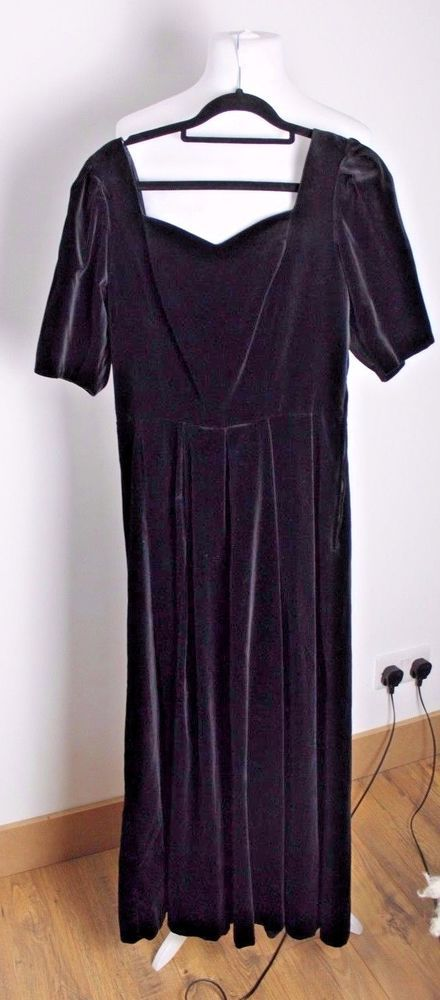 3a1e40091191 LAURA ASHLEY Vintage BLACK VELVET Button back DRESS 10 12 UK GOTH Party  Witch #fashion #clothing #shoes #accessories #womensclothing #dresses (ebay  link)