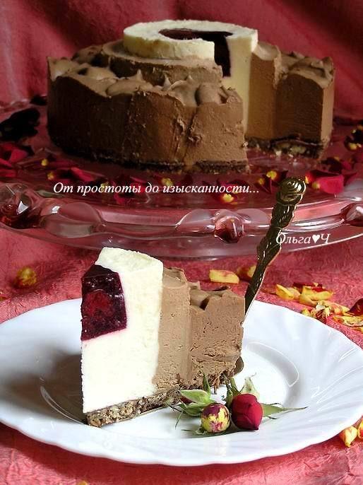 Торт-мусс Три шоколада с вишневым желе. Рецепт c пошаговым фото