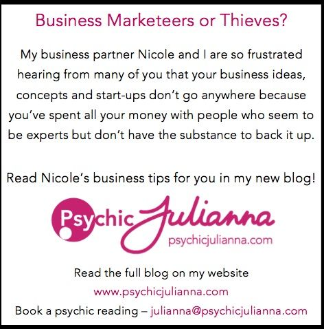 My new blog is up everyone! Read about how marketeers want to keep you stupid in my business partner Nicole's post. Xx Psychic Julianna