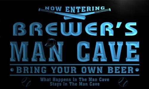 qb1251-b Brewer's Man Cave Baseball Neon Beer Sign
