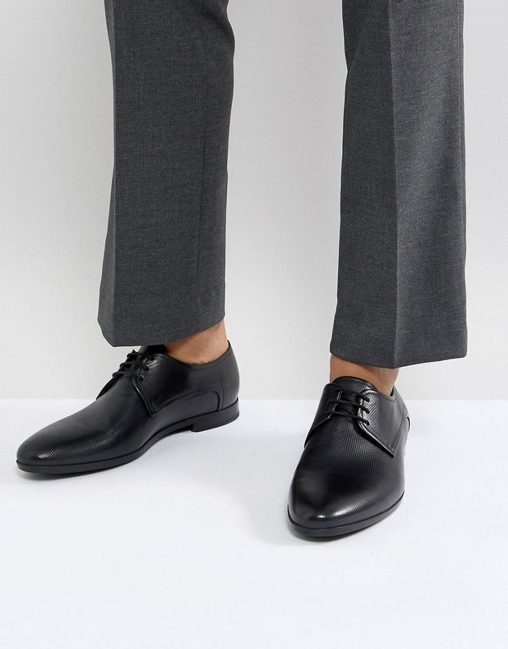 HUGO BY HUGO BOSS PARISS EMBOSSED CALF LEATHER LACE UP DERBY SHOES IN BLACK - BLACK. #hugo #shoes #