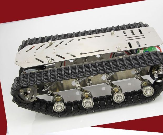 stainless steel Tank Track with shock absorber damping Smart robot Chassis