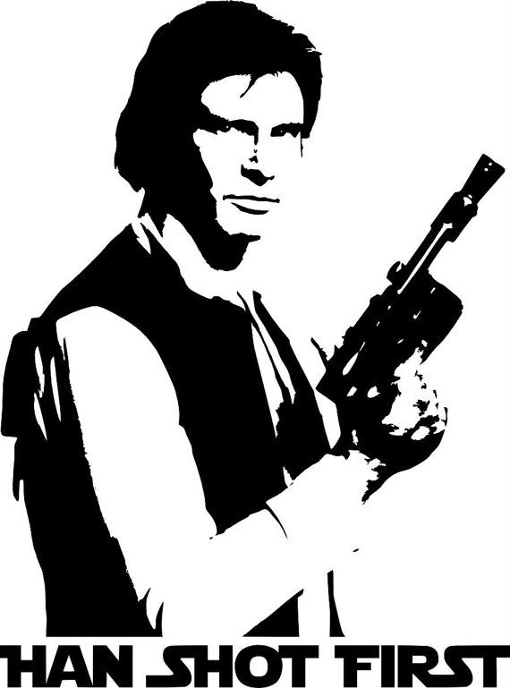 Star Wars Han Solo Han Shot First Decal Sticker by VinylInfinity