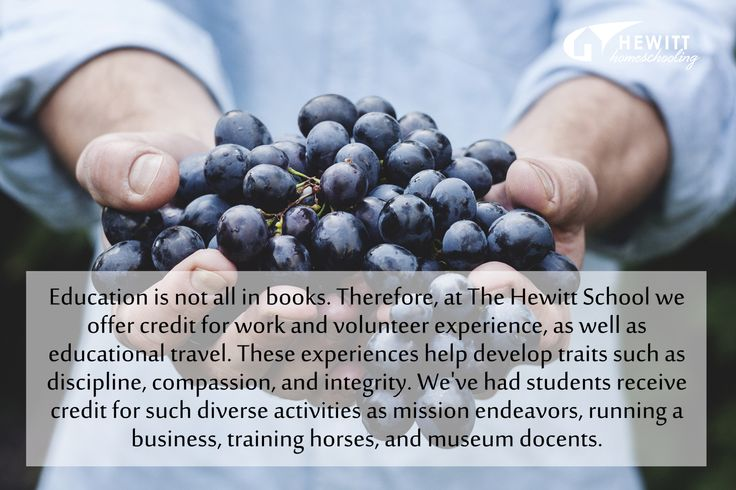 Education is not all in books. Therefore, at The Hewitt School we offer credit for work and volunteer experience, as well as educational travel. These experiences help develop such traits as discipline, compassion, and integrity. We've had students receive credit for such diverse activities as mission endeavors, running a business, training horses, and museum docents. HewittHS.com