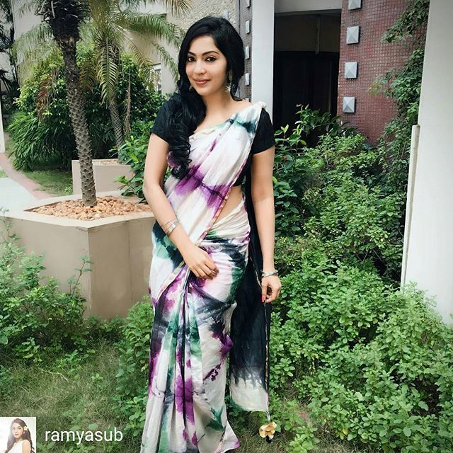 from @ramyasub - This week for my #SareeNotSorry campaign, I chose to drape this tie and dye chanderi Saree. Loving this handmade Saree with the splash of black, bottle green and magenta colors ❤️. A bow to our artisans for the dedication and creativity they put for each and every saree ! #Sareenotsorry Hairdo: page3salon #sareeforeveryoccassion #chanderi #handmade #shibori #celebratingartisans #sareeforwork #comfortsaree #lightasbreeze