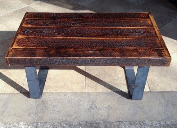 Reclaimed smokehouse oak barn beam coffee table with metal for Buy coffee table legs