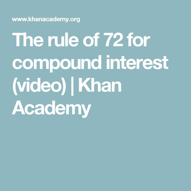 The rule of 72 for compound interest (video) | Khan Academy