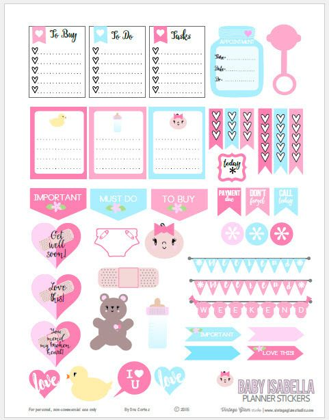 Baby Themed Planner Stickers - Free Printable Download ...