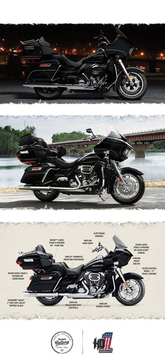 This one combines our ultimate wind-splitting frame-mounted fairing with the ultimate in mile-eating comfort and eye-popping custom style. | 2016 Harley-Davidson CVO Road Glide Ultra #harleydavidsonroadglide2016