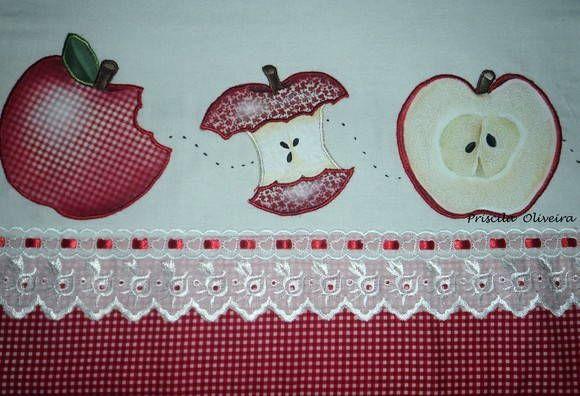 Pano de prato com apliquê pintado motivo maçãs e acabamento de bordado inglês e tricoline.... Um motivo perfeito para um conjunto de cozinha..... R$ 23,30