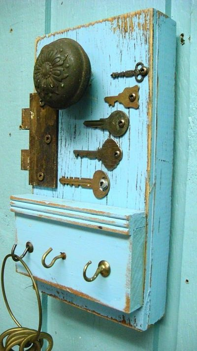 Periwinkle Blue Hook Key Holder, Vintage Hardware and Keys. $38.00, via Etsy.