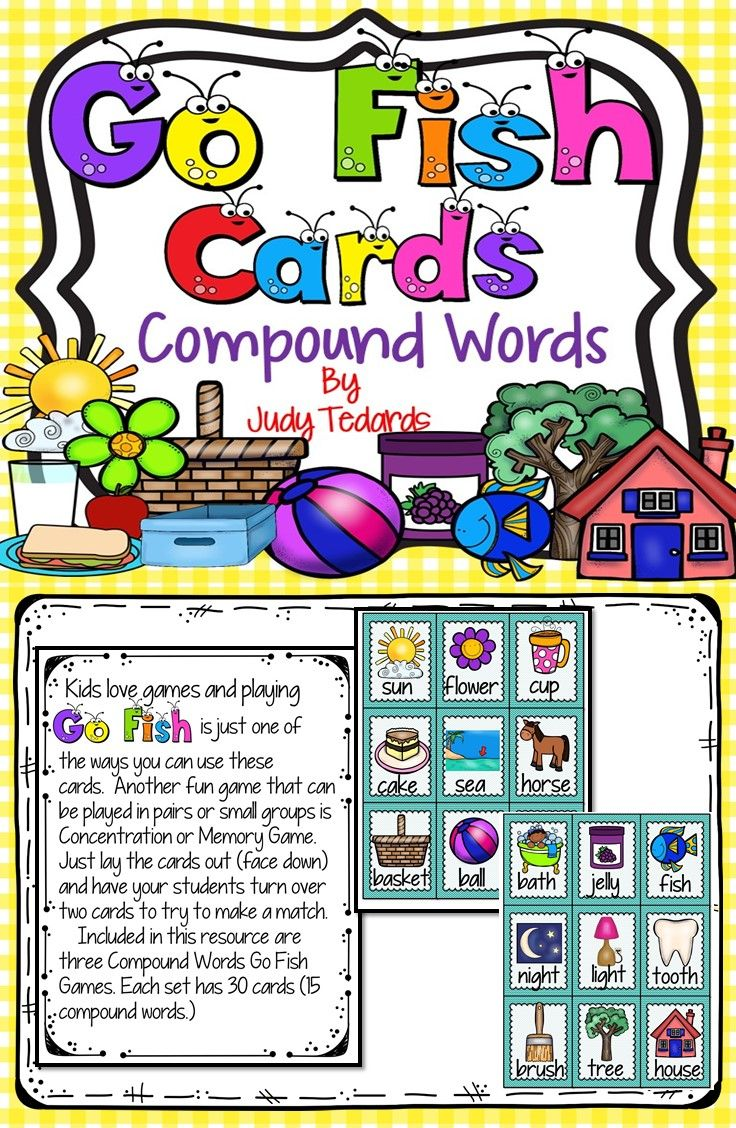 Go fish cards words compound words card