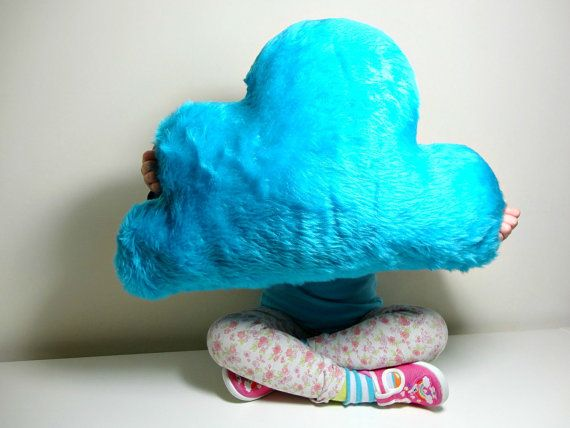 NUBE mullida almohada / cojín de piel sintética color turquesa brillante lluvia nube - suave y mullida - bebé vivero casa decoración