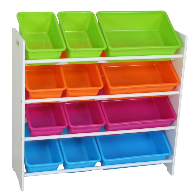 Childrens Kids Bedroom Furniture Set Toy Chest Boxes Ikea: Childrens 4 Tier Storage Shelf With 12 Tubs