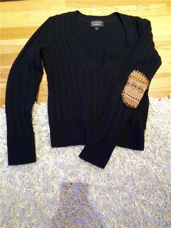 Ralph Laurent - kabelstickad tröja i mörkblått med armbågslappar - m/l dam 199 kr