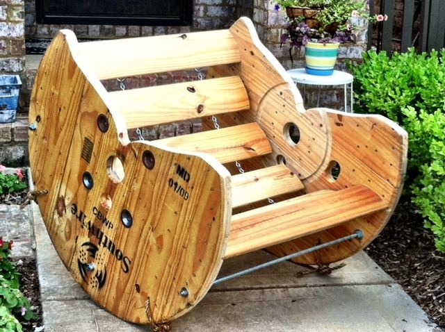 Wooden spool rocking chair restoring piece old for Wooden reel furniture