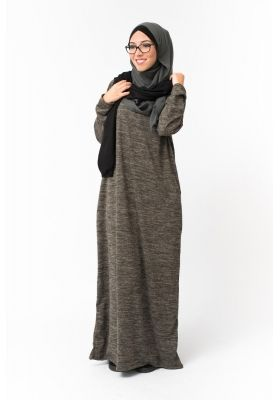 Robe hijab longue hiver kaki femmes musulmanes voilées boutique en ligne  pas cher moderne et tendance 626a607c4a6a