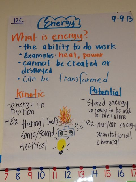 My energy anchor chart and more science charts at http://diaryofanurbanteacher.wordpress.com/