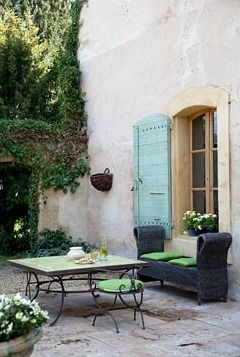 heaven..: Window Shutters, Shutters Doors, Rose, Outdoor Living, Benches Under Window, House, Terraces, Aqua Colors, Doors Colors