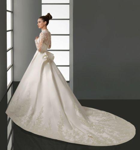 Simple Colonial Wedding Elegant Ball Gown V Neck Satin U Lace Dress
