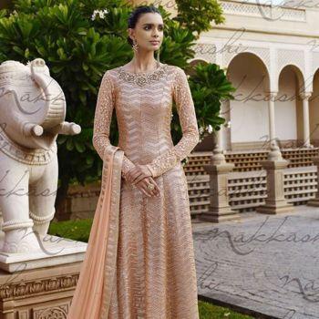 Light Peach Net Diva Look Salwar Kameez