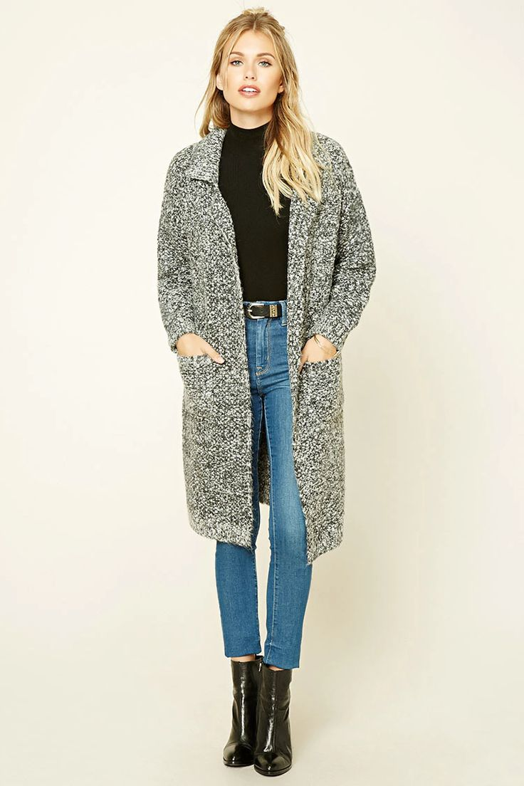 Forever 21 Contemporary - A soft marled knit cardigan featuring notched lapels, an open front, two front pockets, long sleeves, and a longline silhouette.