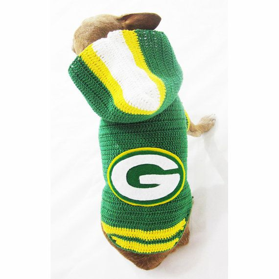 Dog Hoodie Sweater Green Bay Packers NFL Super Bowl National Football League. Handmade crocheted and designed by Myknitt Designer Dog Clothes. Custom