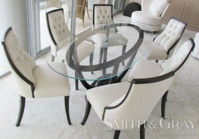 Custom designed oval feature dining table with sandblasted floral design glass top - See more at: www.smithandgray.com.au - Custom Made Australian Furniture