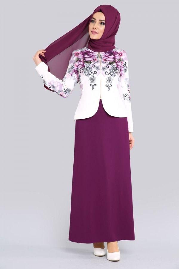 Yeni Urun Cicek Ceketli Ikili Kombin Mor Urun Kodu Avz1102 159 90 Tl Islami Giyim Kadin Giyim Elbise Modelleri