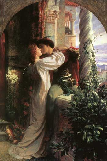 """Romeo and Juliet"" by Sir Francis Dicksee,   Perhaps one of the most recognizable scenes in the art world, it is also one of the most romantic, and depicts the famed balcony scene in Shakespeare's masterpiece."
