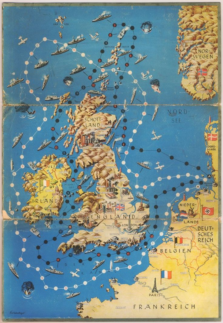 Untitled anti-British World War II propaganda shipping race board game published by F Westenberger in about 1940.