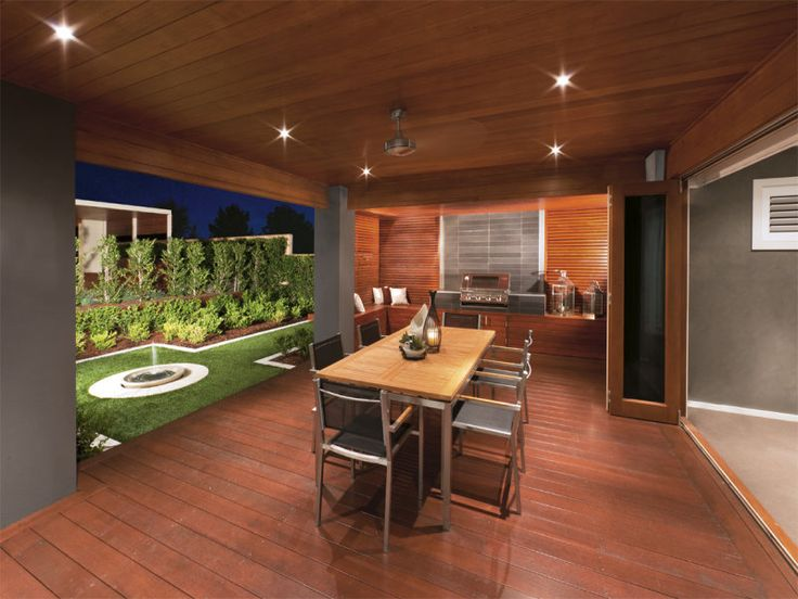 Walled outdoor living design with bbq area  fountain using timber - Outdoor Living Photo 269173