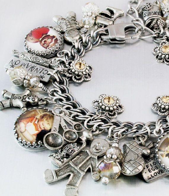 Gingerbread Man Charm Bracelet Silver Charm by BlackberryDesigns, $123.00