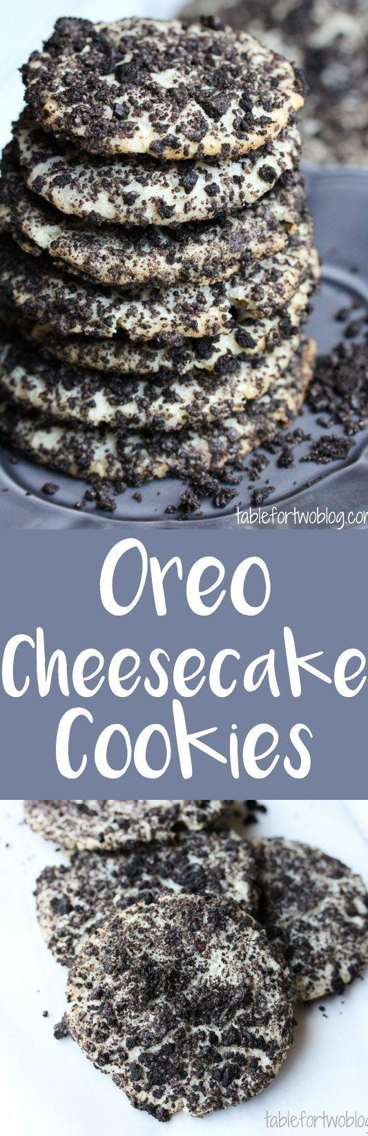 Oreo cheesecake cookies are so addicting! http://www.tablefortwoblog.com/oreo-cheesecake-cookies/