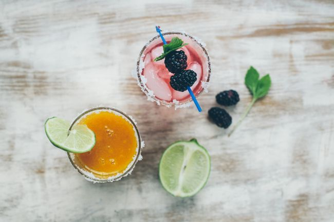 mango + blackberry mint margaritas.