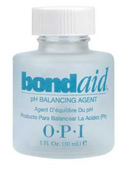 OPI Bond Aid False Nails, 1 Fluid Ounce by OPI. $9.50. Adjust the pH of the natural nail. Advanced Patented Forumal. Maximizes adhesion. Bond Aid helps makes adhesion of artificial nail products much easier. This advanced patented formula brings the natural nail surface to the proper pH to maximize bonding of the artifical products and the natural nail. Acts as an excellent protecting primer for manicures.
