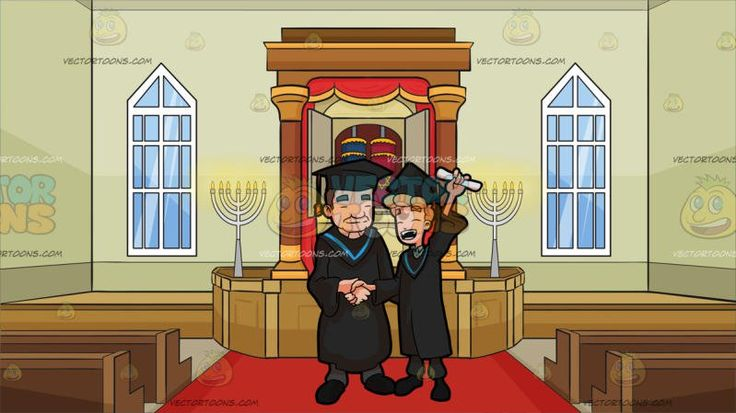 A Man Raising His Diploma As He Poses For A Photo With The Faculty Head Of His Course During Graduation At Inside A Synagogue:  A blue eyed male college graduate with blonde hair wearing a black academic dress and cap with a blue bordered hood over his blue collared shirt gray pants and black shoes left hand raising up a rolled white diploma closes his eyes and shouts in glee as he shakes the hand of the faculty head wearing the same academic dress over his gray pants and black shoes. Set in…