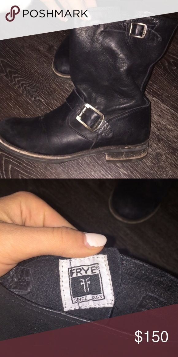 Frye Veronica Shortie Short Black Leather Boots Frye Veronica Shortie Short Black Leather Boots Engineer Boots Moto. These have been worn several times but there is plenty of life left in them. True to size. size 8. Soft supple leather. Frye Shoes Combat & Moto Boots