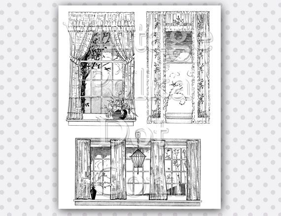 vintage window drawing. clip art vintage window curtains bird cage by vintagepolkadotcom drawing
