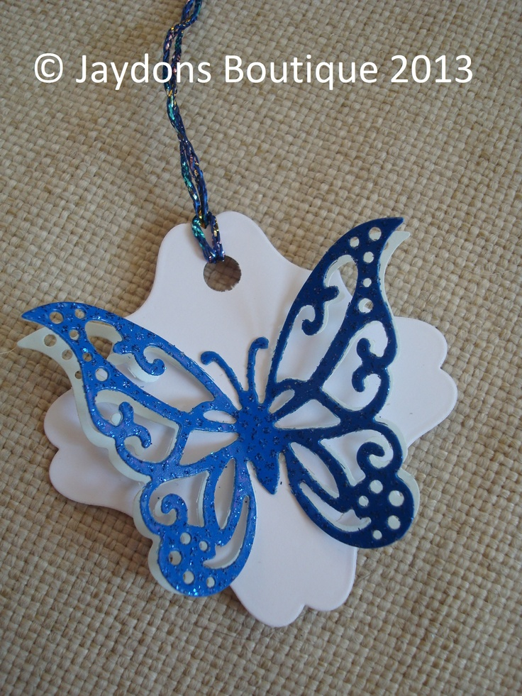 White & Sparkle Blue, Double Butterfly Gift/Favour/Hanging Tags x