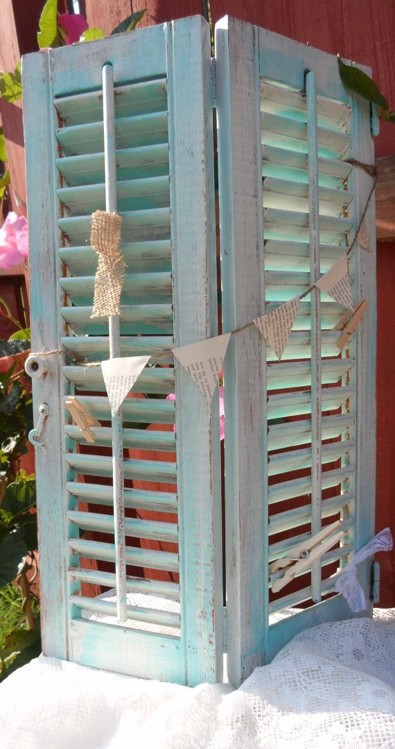 {12 Month Photo Display} Turquoise Vintage Shutters Memo Board by OCute on Etsy, $26.00
