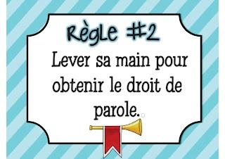 Règlements de la classe Whole Brain Teaching en français