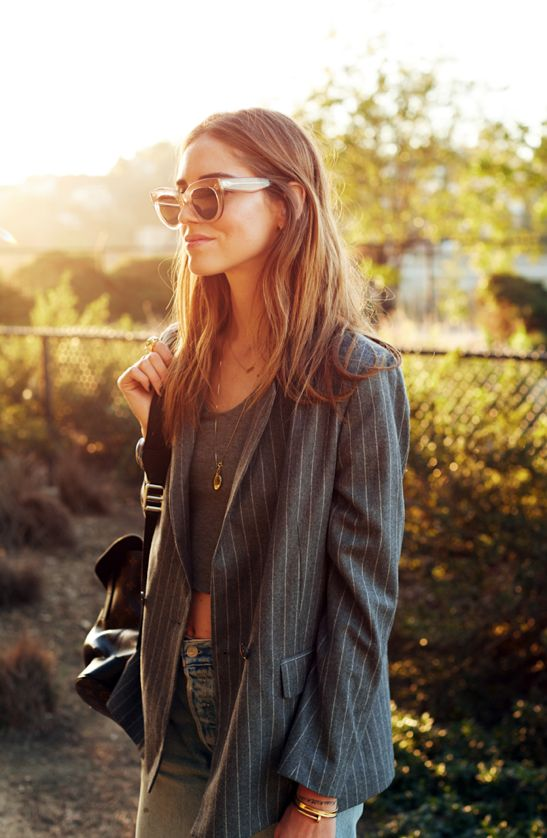 Chiara Ferragni is wearing a grey pinstripe blazer from MSGM