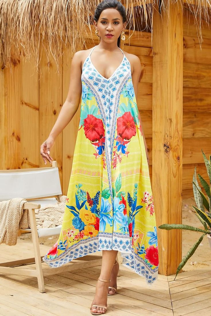 Women Yellow Floral Print Halter Backless Casual Beach Dress Cover Up – One Size