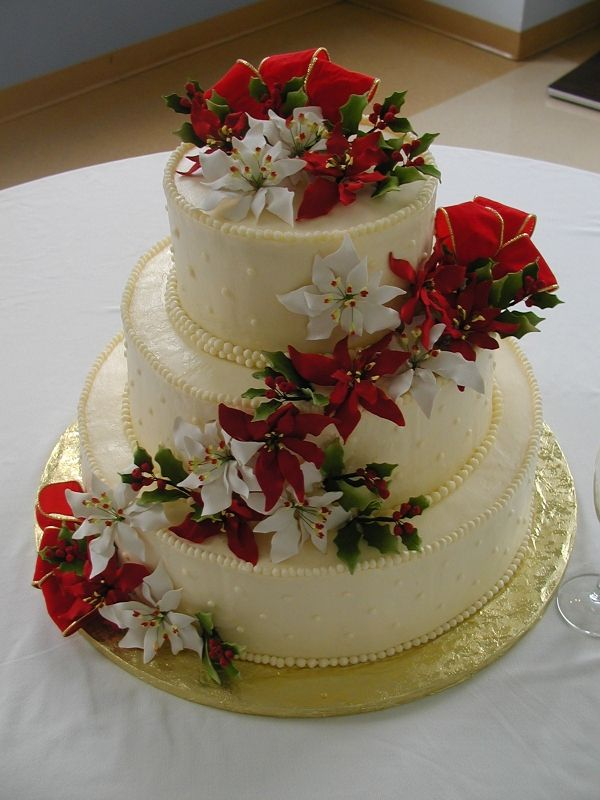 Christmas Wedding Cake  By: DonnaJo  Poinsettia Christmas Wedding Cake  URL: http://cakecentral.com/gallery/1910243/christmas-wedding-cake - Uploaded On:  	Jan 09, 2011