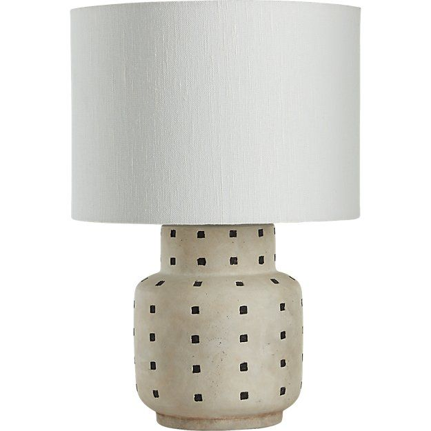 Shop Grid Black And White Polka Dot Table Lamp Simple Black Blocks Get Into Formation Atop White Earthenware Base Formed Table Lamp Lamp Modern Table Lamp Black and white table lamp