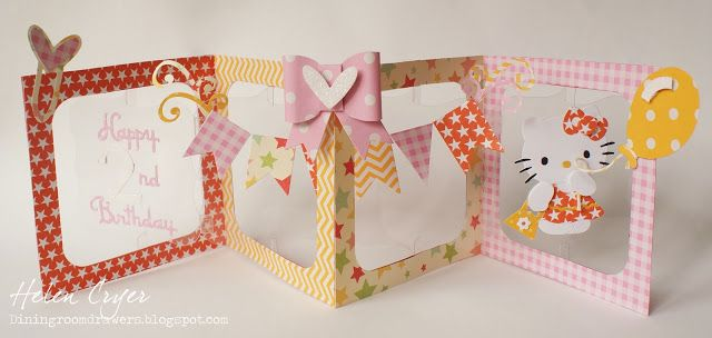 Helen Cryer cutting the Accordion Album from clear. Love this! - The Dining Room Drawers: Accordion Album Hello Kitty Birthday Card