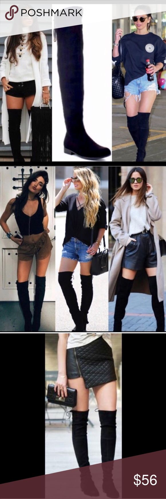"""🌟BEST SELLER🌟Low Heel Black Over the Knee Boots ❤️MANY HAPPY PETITE BUYERS TOO❤️ Drawstring top. Exceptionally soft faux suede.  Inside zipper runs from foot to mid lower leg. Slightly rounded toe. Fabric has give to it. Fits true to size. Approximate measurements, leg opening 17"""", calf 15"""", 25"""" shaft height. Center image of covershot and image 4 of actual boots. As with all merchandise, seller not responsible for fit nor comfort. Brand new retail. No trades, no off App transactions or…"""